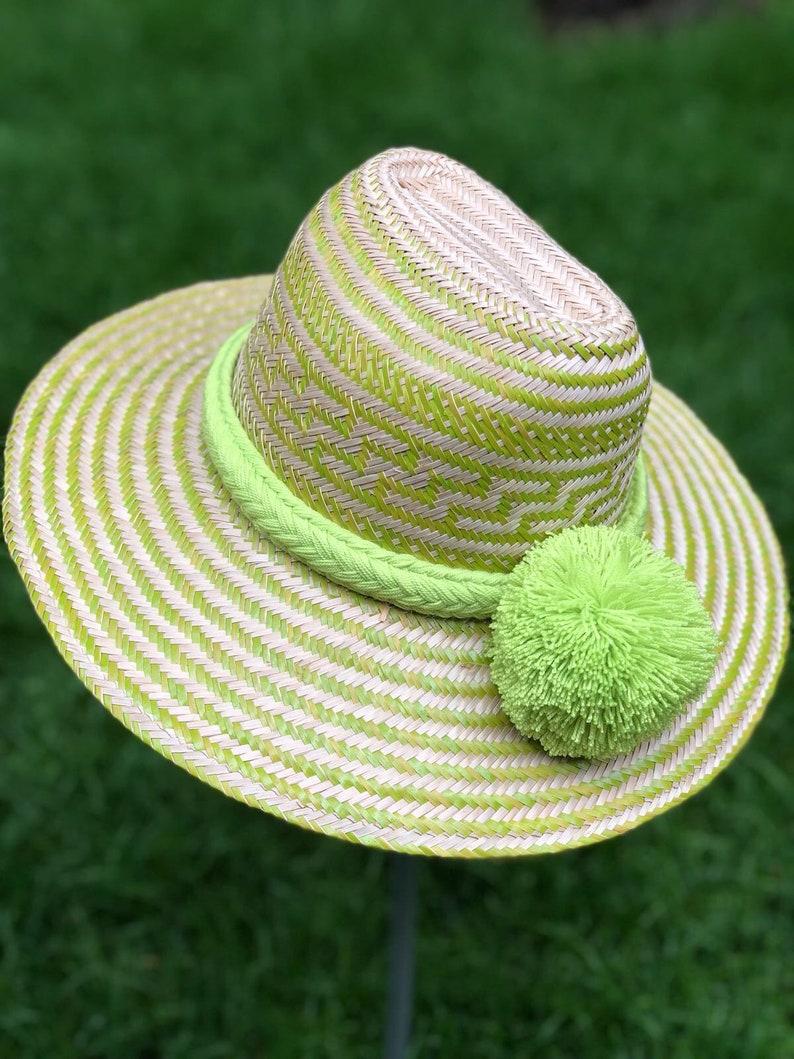11e22eae088 Unique Green Sombrero Straw Summer Hat with Pompoms  Fedora
