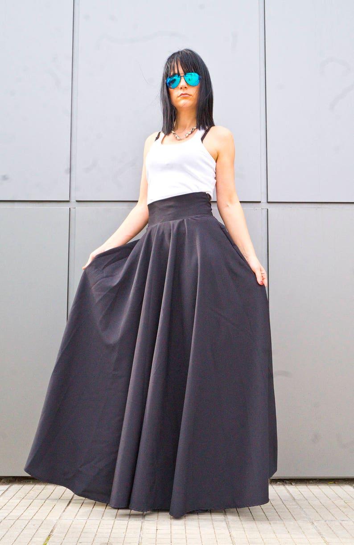 4bebc0badc0 Soft Cotton Black Skirt  Women Long Plus Size Skirt