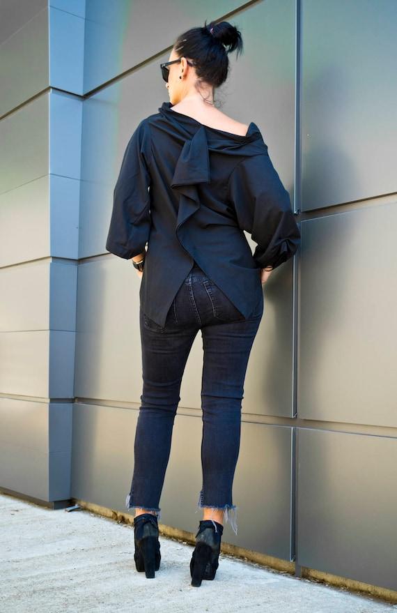 Extravagant Black Women Blouse,Plus Size Maxi Top,Womens Clothing, Black Tunic,Loose Black Oversize Blouse,Long Sleeve Black Top by YoLineXL