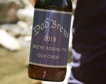 Dad Brew We're Growing Our Crew 2018 pregnancy reveal beer labels for dad instant download pregnancy announcement labels dad reveal labels