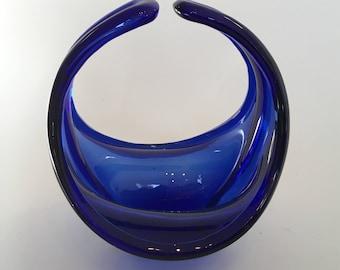 A 1950's/60's blue organic form bowl