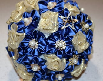 Blue and gold jeweled bouquet