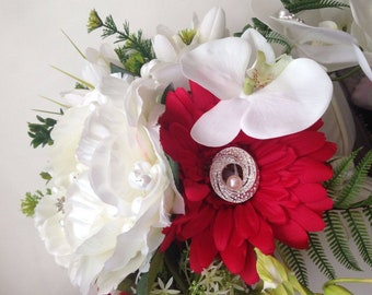 Red and white silk flower jeweled bouquet
