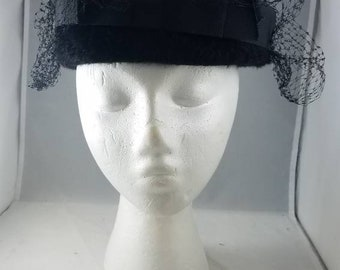 Vintage Black fur Pillbox with veil and ribbon detail. It is marked Mystere  made of imported fur Belmar classic ladies hat 6e40b29a5a3
