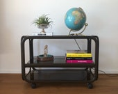 70s brown serving trolley bar trolley side table Coffee table phono car made of metal with smoked glass plates