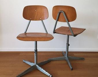 Set of Two 70s Industrial Workshop Chairs Vintage