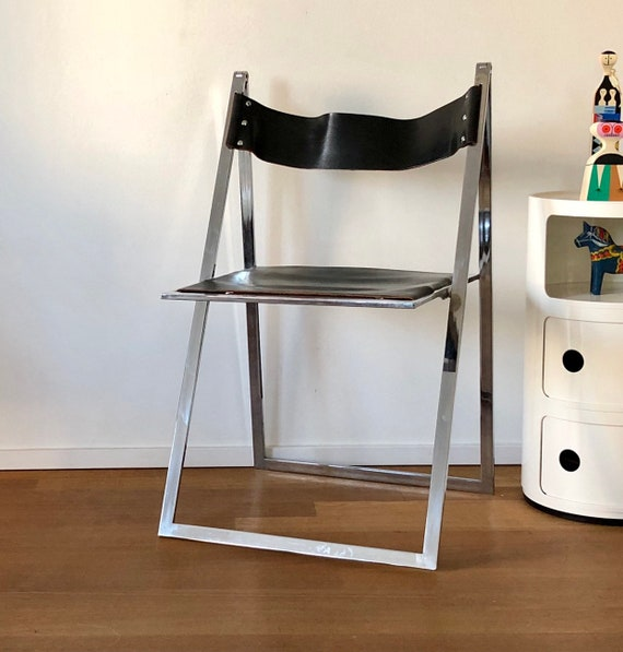 Marvelous 70S Folding Chair Of Leather Interlubke Two Pieces Available Pabps2019 Chair Design Images Pabps2019Com