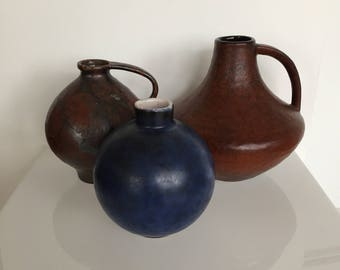 Set of three 70s Boho ceramic vases