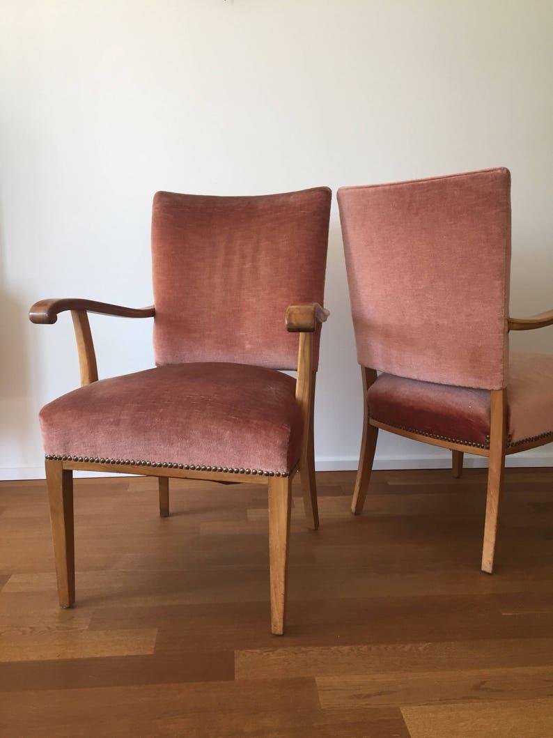 Mid Century 50er Jahre Samt Sessel (2 Stück vorhanden)
