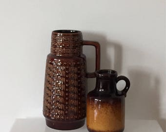 Set of two 70s Boho ceramic vases, AK ceramics 645/25 and Scheurich 414-16