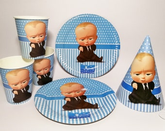 Boss Baby Party Supplies Plates Cups Birthday Hats Set Of 10