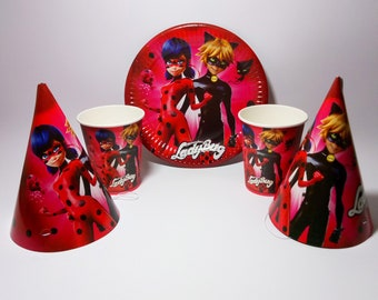 Miraculous Ladybug And Cat Noir Party Plates 10 Paper Cups Birthday Hats Lady Bug Decor