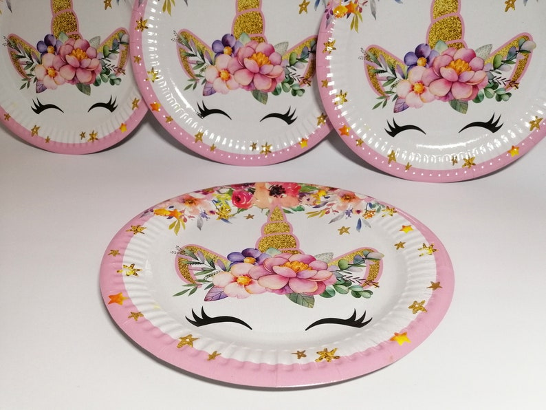 Unicorn Eyelash Party Plates Cups Birthday Caps Set of 10 plates 10 cups 10 Party Hats