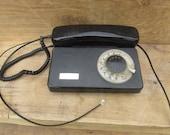 TESLA Black telephone - Rotary phone - Vintage desk telephone - office home decor - vintage electronics - old school phone