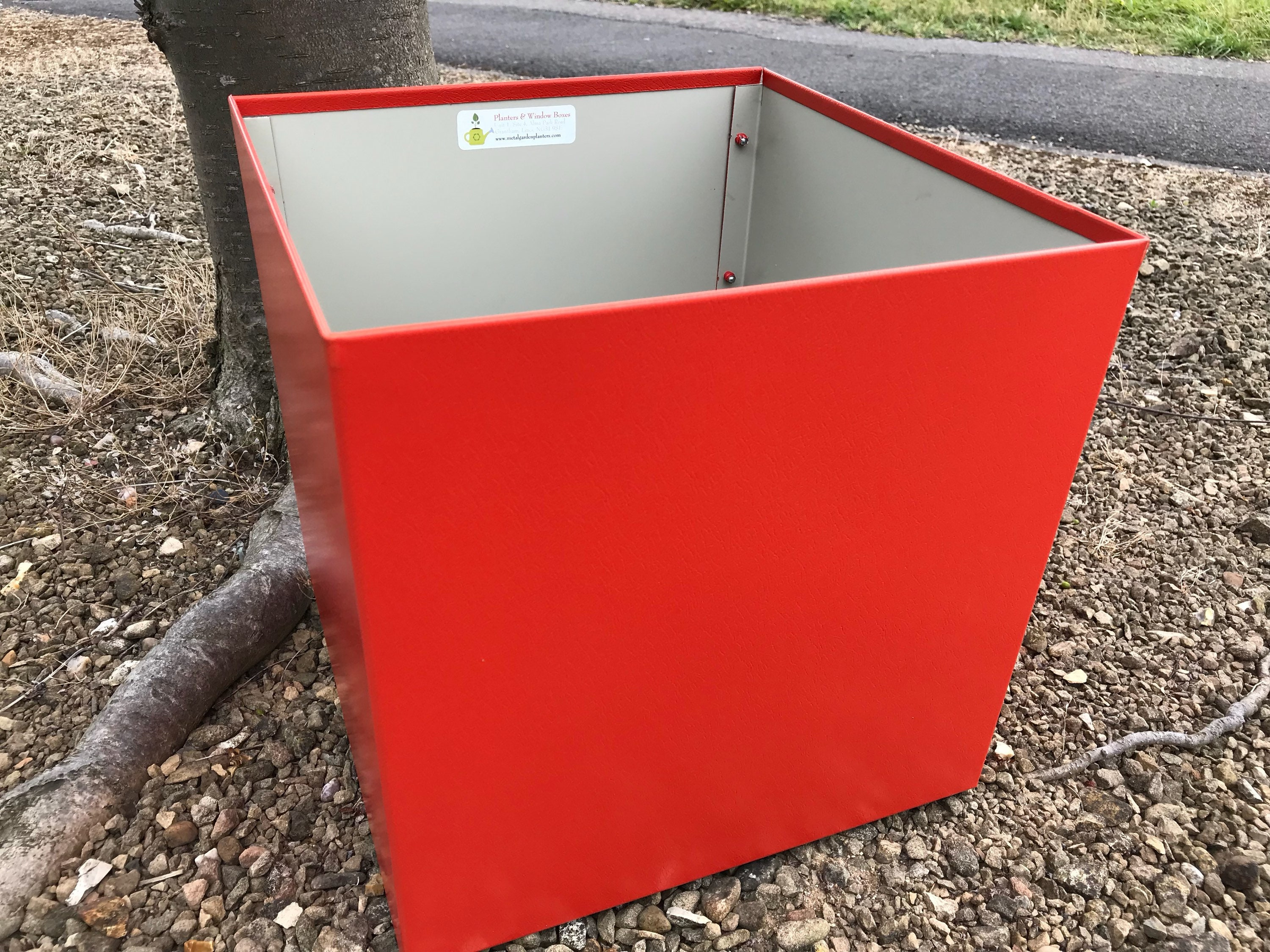 Red Metal Planter: 30cm Square Red Handmade Metal Planter