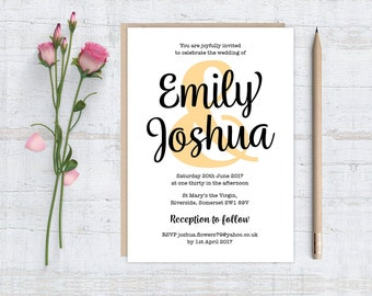 Printable (DIY) PASTEL AMPERSAND Wedding Invitation Stationery Set - Black Text