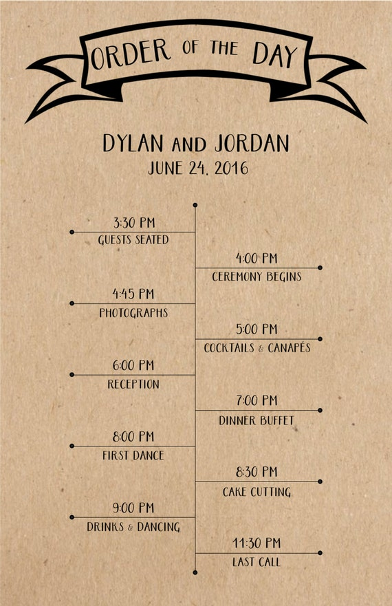 Wedding Program With Timeline Customized Printable Etsy