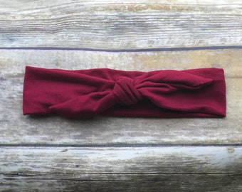 e15afa93416f Ruby red headband | knot headband | burgundy headband | adjustable headband  | womens headband | bow headband | baby headband | tie headband