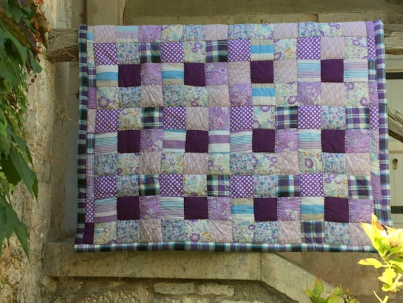 Patchwork Plaid MADRAS 130 x 140 cms Quilt Top of bed Cover Plaid Cotton Hand made