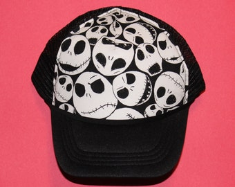 Jack Skellington Hat // Mesh Adjustable Trucker Hat for Adults & Kids // Disney Novelty Fabric