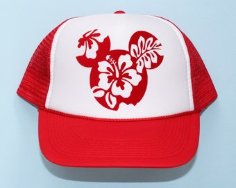 new product 78e00 4cc8a Mickey Mouse Tropical Hibiscus   Trucker Hat for Toddlers, kids, adults    Disney Hawaii Hat