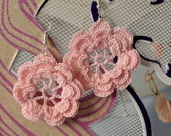 Layered Flower Crochet Earrings