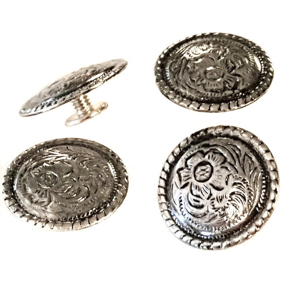 SILVER PLATED FLORAL ROUND CONCHO SADDLE WOOD SCREW HORSE SADDLE HEADSTALL 6 Pk