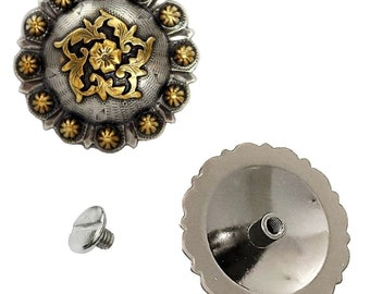 """2 Pack 1-1/2"""" Floral Berry Concho With Screws"""
