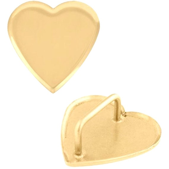 2 Pack Solid Brass Heart Rosette Loop Concho
