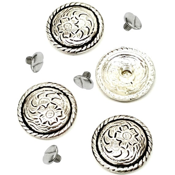 """4 Pack 1-1//2/"""" Western Saddle Bright Silver Star Round slotted Conchos"""