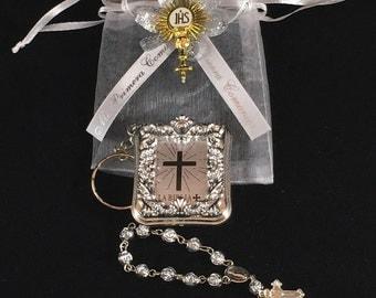 12 Silver Mini Bibles And Rosary Personalized First Communion Favor  Primera Comunion Recuerdo Con Rosario Personalizado