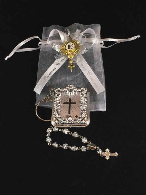 404d23974a8 12 Silver Mini Bibles And Rosary Personalized First Communion