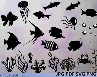 Fish Svg Silhouette ClipartDigital FishVector INSTANT DOWNLOAD Black Aquarium PRINTABLE Plants