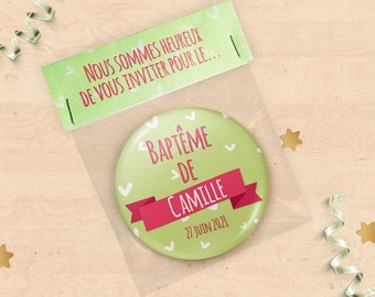 Announcements baptism with personalized magnet - green and Pink Hearts Collection