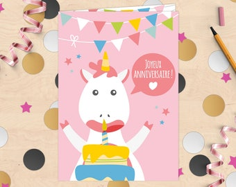 """""""Happy birthday"""" Unicorn birthday card with envelope layer filled with confetti"""