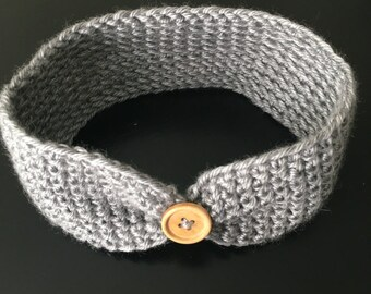 Grey Crochet Button Baby Toddler Headband