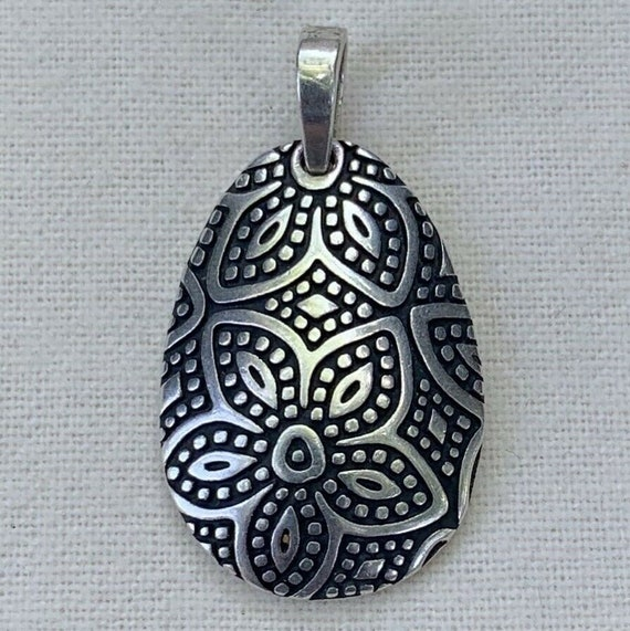 Retired James Avery Sterling Silver 925 Beaded Floral Pendant Etsy