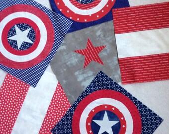 Captain America Quilt Kit - Boy Quilt Kit - Quilt Kit - Modern Quilt - Captain America - Ready to Sew- Boy Quilt
