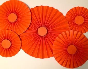 Orange Rosettes, Paper Fan, Pinwheel, Party Decoration, Cake Backdrop, Photo Backdrop