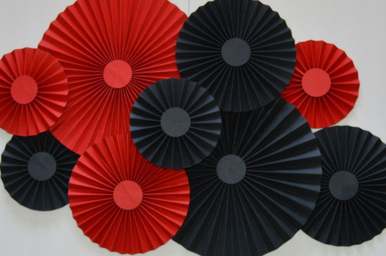 Cake Backdrop Paper Fans Red and Black Rosettes Pinwheels,Party Decoration Photo Backdrop