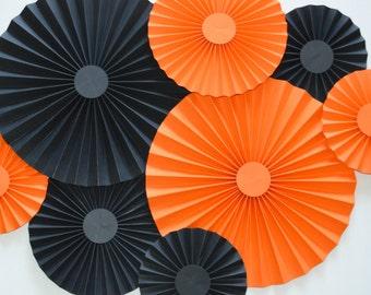Orange and Black Rosettes, Paper Fan, Pinwheel, Halloween Decoration, Party Decoration, Cake Back Drop, Photo Back Drop