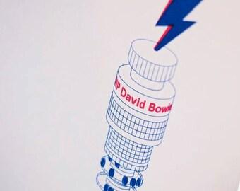 David Bowie BT Tower tribute handpulled screenprint