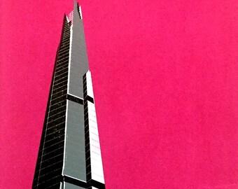 London Shard handpulled screen print (magenta)