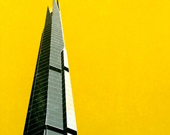 London Shard handpulled screen print (yellow)