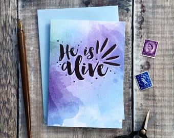 He Is Alive Card - Baptism Card - Easter Card - Christian Cards - Watercolour Cards - Faith Gifts - Christian Gifts - Bible Verse Cards