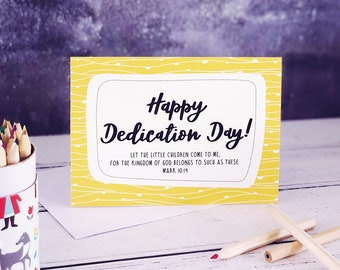 Happy Dedication Day! A6 Card -- Dedication Card -- New Baby Card - Bible Verse Cards - Christian Cards - Christian Gifts
