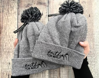 Faith Can Move Mountains Beanie Hat - Bobble Hat - Faith Gifts - Beanie Hat  - Christian Gifts - Izzy and Pop - Matthew 17 20 3b0e73c0f639