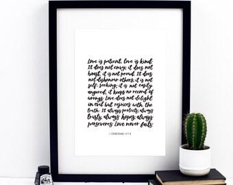 Love Is Patient Block Print - 1 Corinthians 13: 4-8 Print - Love Is Patient, Love Is Kind -  Wedding - Christian Print - Christian Gift