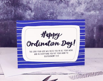 Happy Ordination Day! A6 Card -- Ordination Card -- Christian Cards - Christian Gifts - Bible Verse Cards