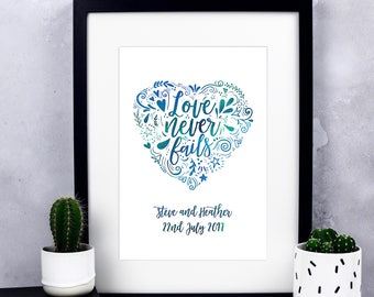 Love Never Fails Personalised Wedding Print - Personalised Print - Custom Wedding - Wedding Gift - Gift for Bride And Groom - Wedding Print